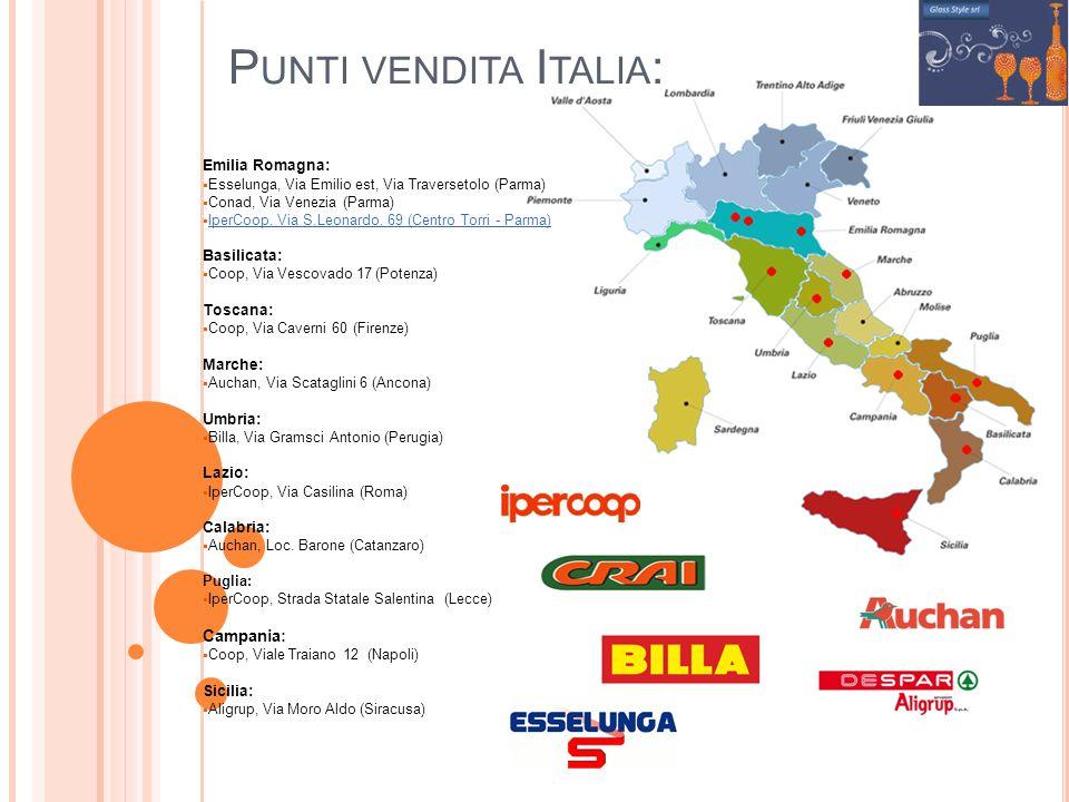 P UNTI VENDITA I TALIA : Emilia Romagna: Esselunga, Via Emilio est, Via Traversetolo (Parma) Conad, Via Venezia (Parma) IperCoop, Via S.Leonardo, 69 (