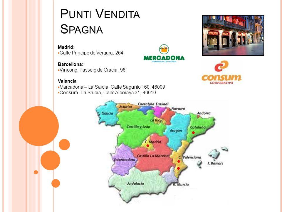 P UNTI V ENDITA S PAGNA Madrid: Calle Principe de Vergara, 264 Barcellona: Vincong, Passeig de Gracia, 96 Valencia Marcadona – La Saïdia, Calle Sagunto 160, 46009 Consum.