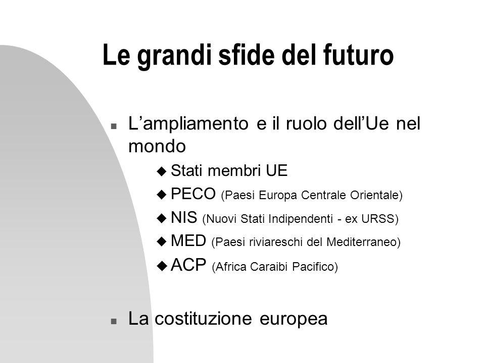 Le grandi sfide del futuro n Lampliamento e il ruolo dellUe nel mondo u Stati membri UE u PECO (Paesi Europa Centrale Orientale) u NIS (Nuovi Stati In