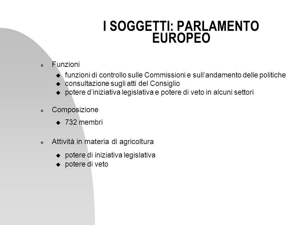 I SOGGETTI: PARLAMENTO EUROPEO n Funzioni u funzioni di controllo sulle Commissioni e sullandamento delle politiche u consultazione sugli atti del Con