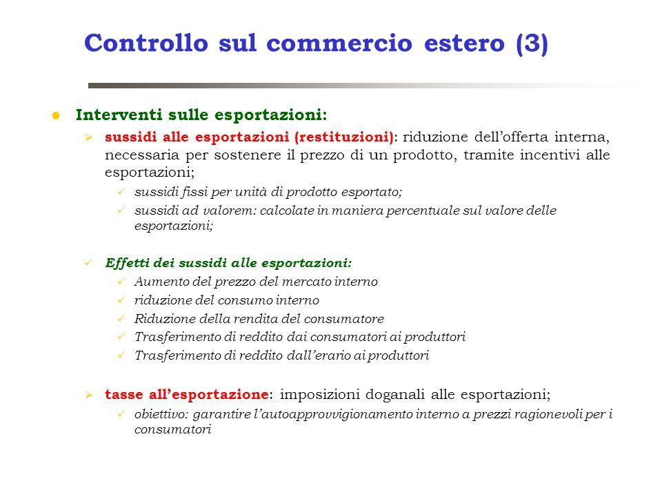 Controllo sul commercio estero (3) Interventi sulle esportazioni: sussidi alle esportazioni (restituzioni) : riduzione dellofferta interna, necessaria