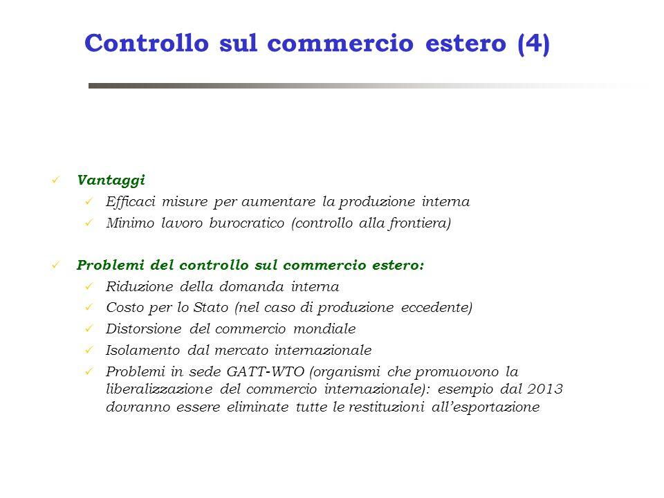 Controllo sul commercio estero (4) Vantaggi Efficaci misure per aumentare la produzione interna Minimo lavoro burocratico (controllo alla frontiera) P