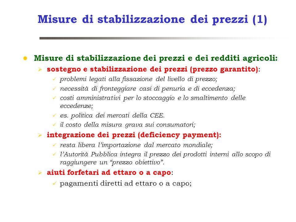 Misure di stabilizzazione dei prezzi (1) Misure di stabilizzazione dei prezzi e dei redditi agricoli: sostegno e stabilizzazione dei prezzi (prezzo ga