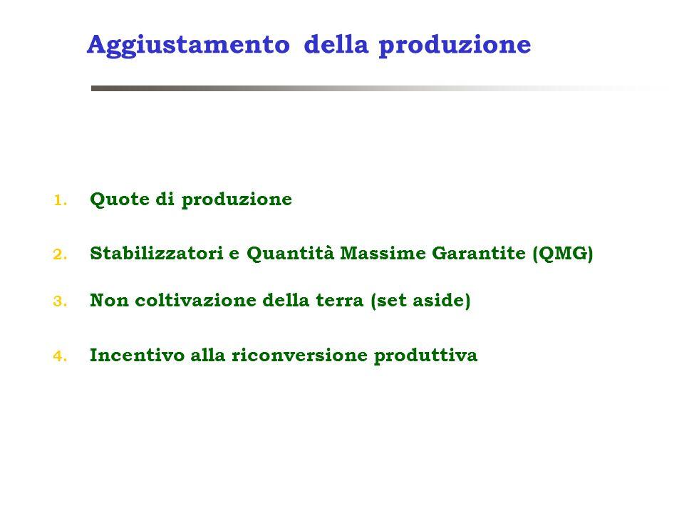 Aggiustamento della produzione 1. Quote di produzione 2. Stabilizzatori e Quantità Massime Garantite (QMG) 3. Non coltivazione della terra (set aside)