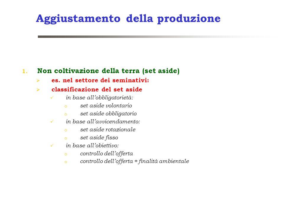 Aggiustamento della produzione 1. Non coltivazione della terra (set aside) es. nel settore dei seminativi: classificazione del set aside in base allob