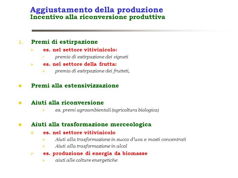 Aggiustamento della produzione Incentivo alla riconversione produttiva 1. Premi di estirpazione es. nel settore vitivinicolo: premio di estirpazione d