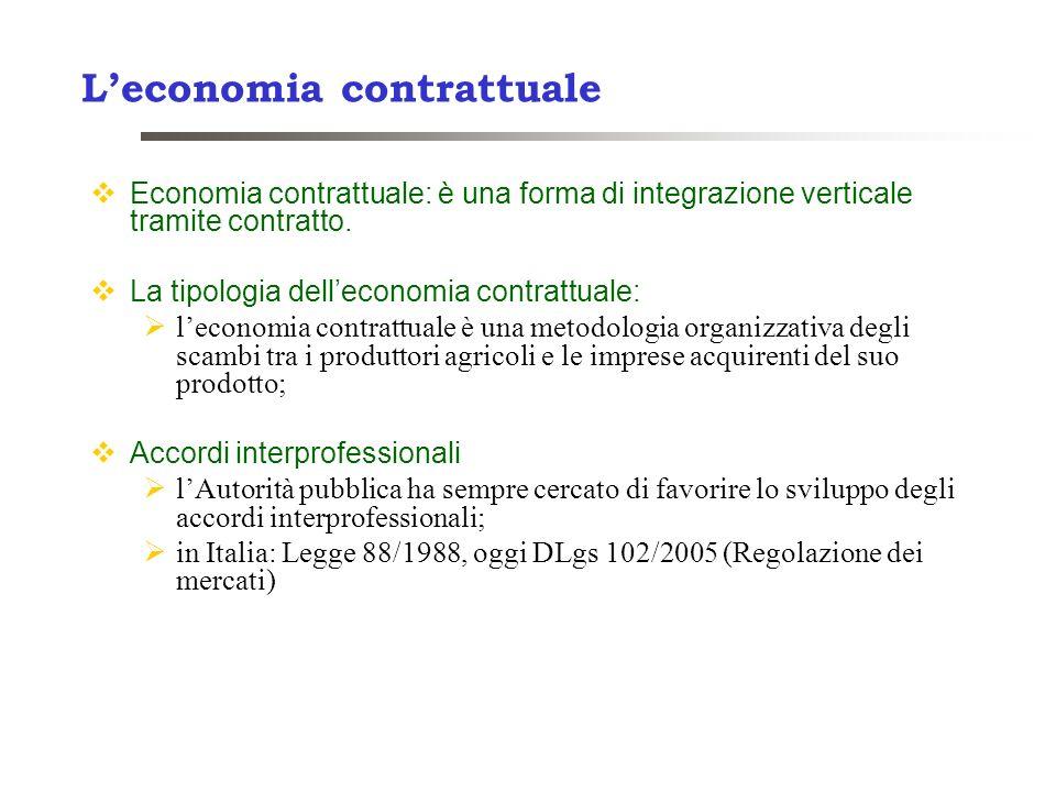 Leconomia contrattuale Economia contrattuale: è una forma di integrazione verticale tramite contratto. La tipologia delleconomia contrattuale: leconom