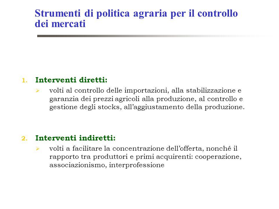 1. Interventi diretti: volti al controllo delle importazioni, alla stabilizzazione e garanzia dei prezzi agricoli alla produzione, al controllo e gest