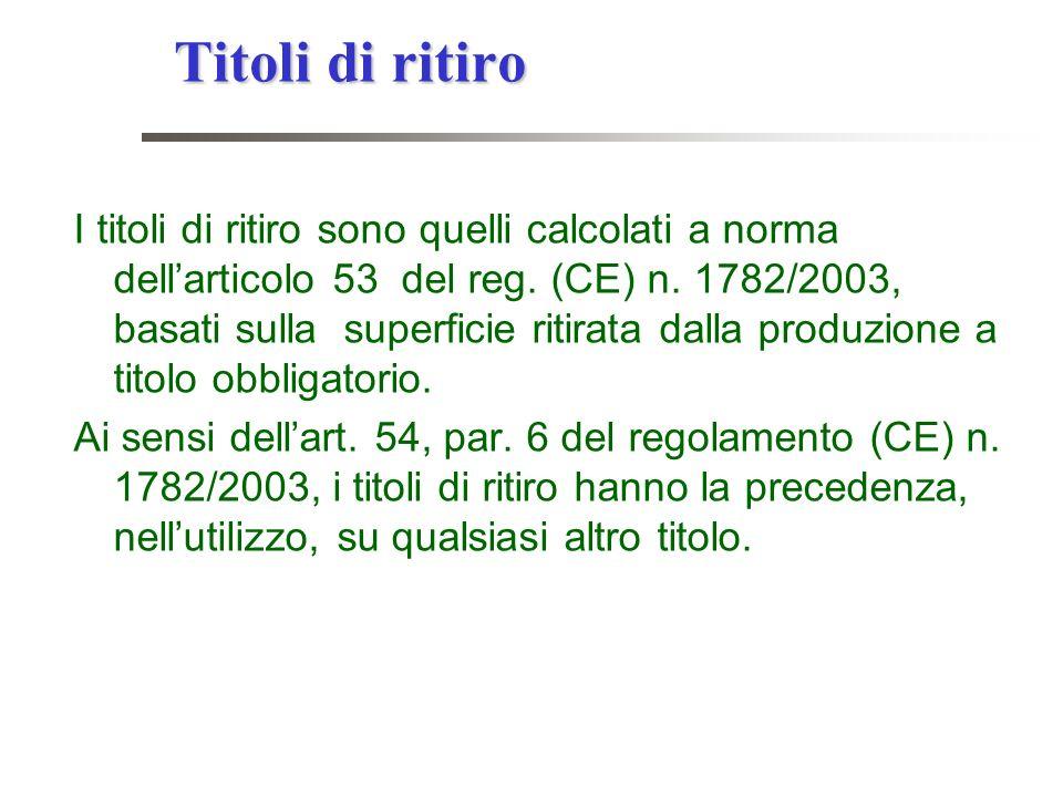 Titoli di ritiro I titoli di ritiro sono quelli calcolati a norma dellarticolo 53 del reg. (CE) n. 1782/2003, basati sulla superficie ritirata dalla p