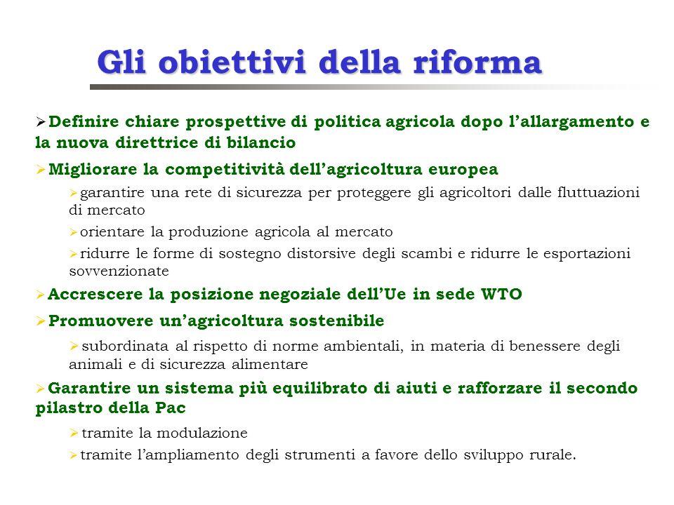 Gli obiettivi della riforma Definire chiare prospettive di politica agricola dopo lallargamento e la nuova direttrice di bilancio Migliorare la compet