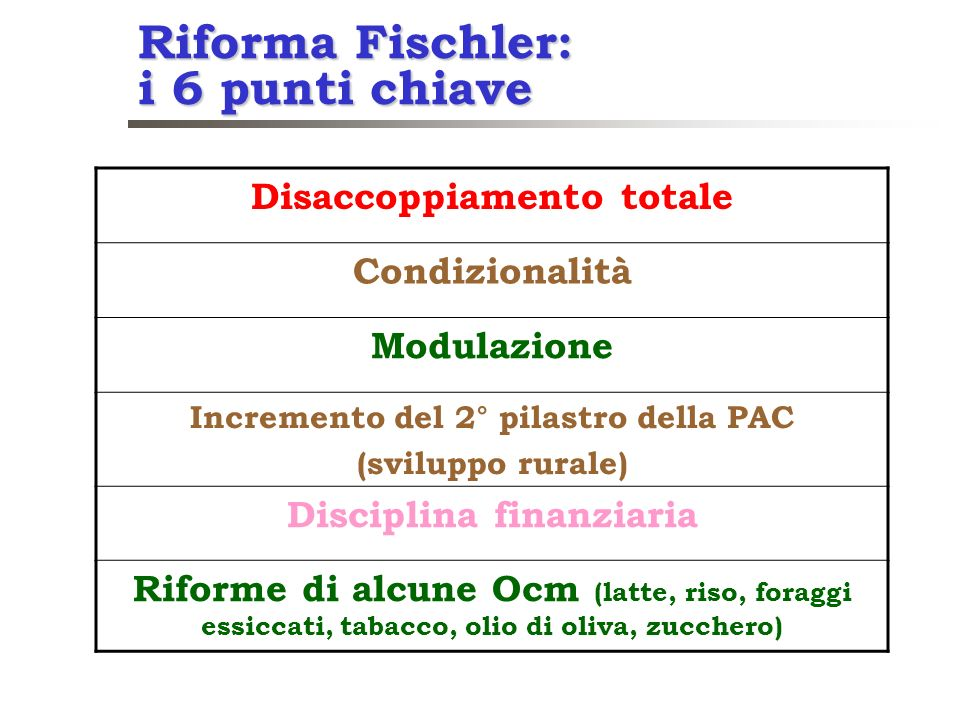 Riforma Fischler: i 6 punti chiave Disaccoppiamento totale Condizionalità Modulazione Incremento del 2° pilastro della PAC (sviluppo rurale) Disciplin