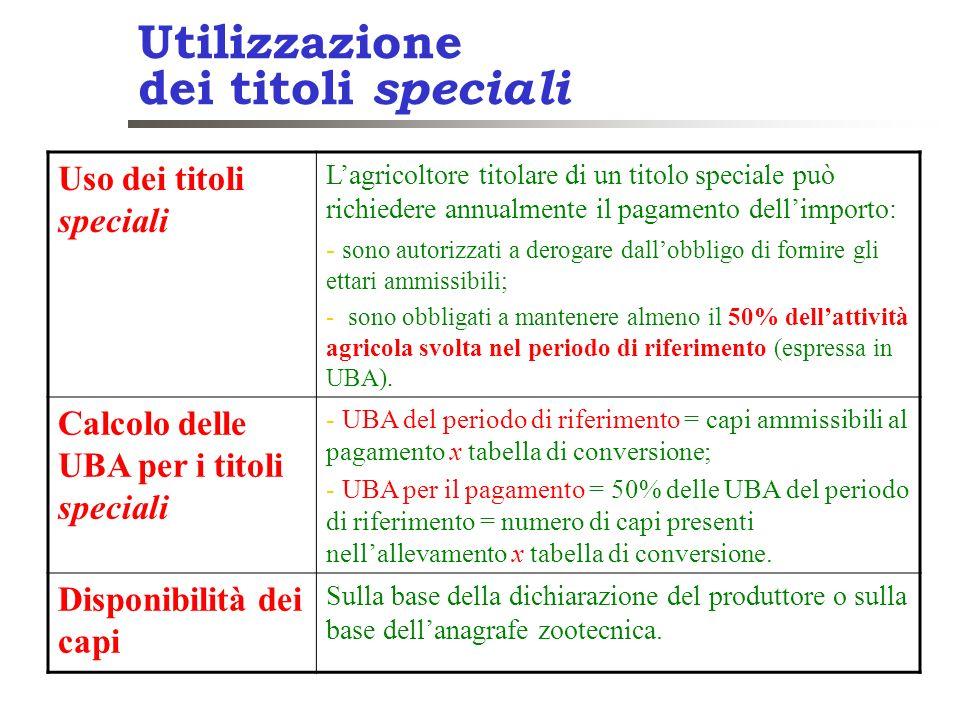 Utilizzazione dei titoli speciali Uso dei titoli speciali Lagricoltore titolare di un titolo speciale può richiedere annualmente il pagamento dellimpo