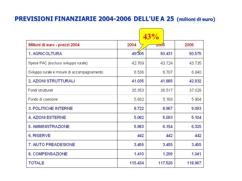 PREVISIONI FINANZIARIE 2004-2006 DELL'UE A 25 (milioni di euro) 43%
