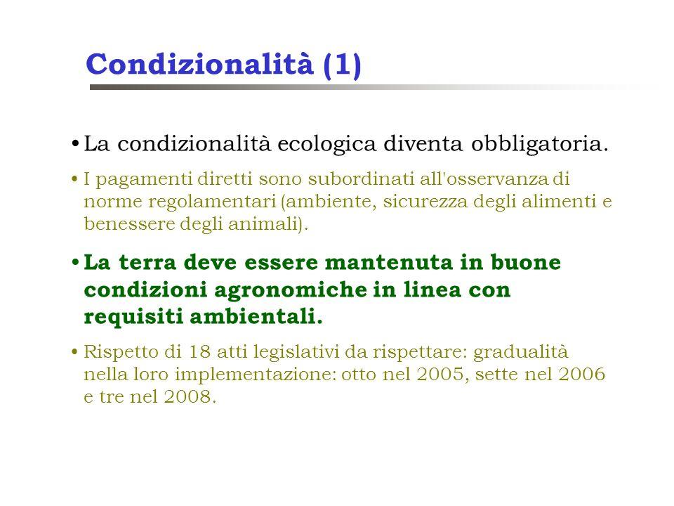 Condizionalità (1) La condizionalità ecologica diventa obbligatoria. I pagamenti diretti sono subordinati all'osservanza di norme regolamentari (ambie
