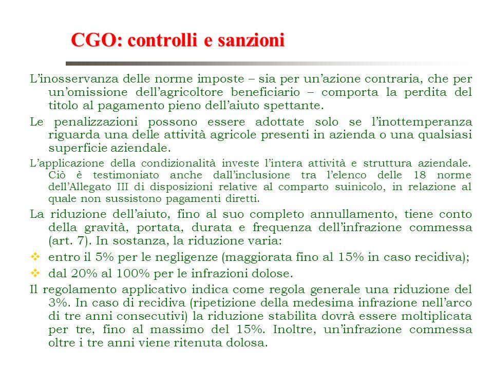 CGO: controlli e sanzioni Linosservanza delle norme imposte – sia per unazione contraria, che per unomissione dellagricoltore beneficiario – comporta