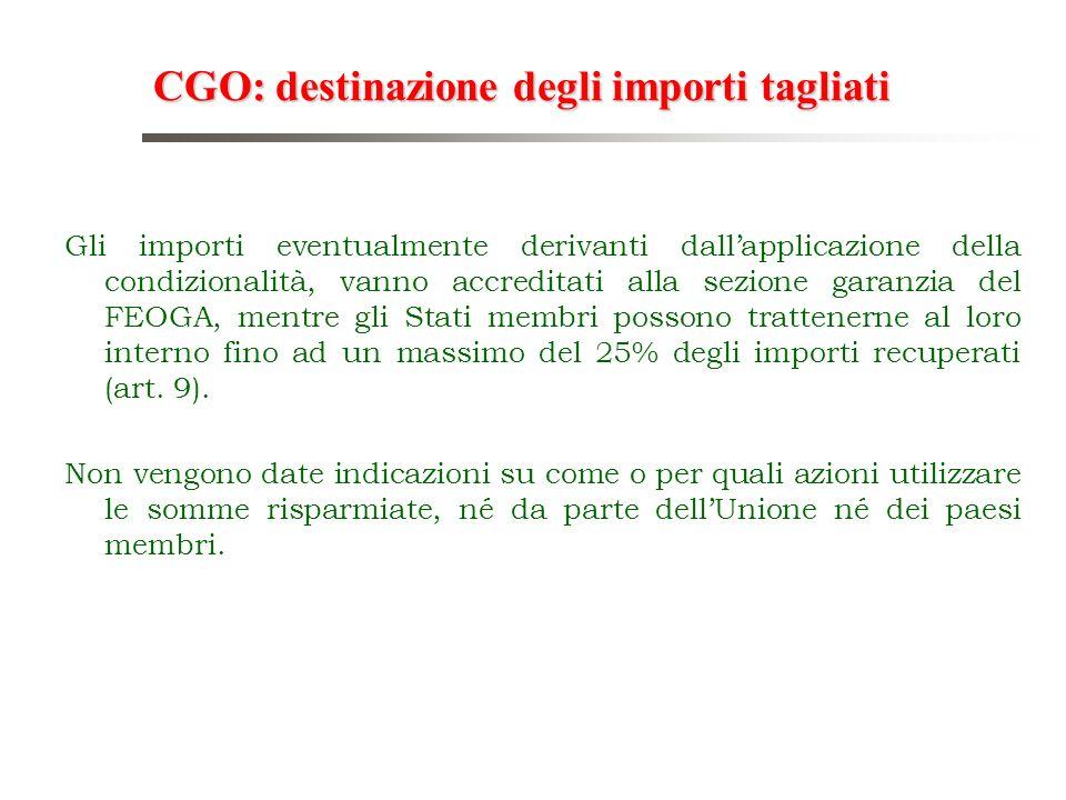 CGO: destinazione degli importi tagliati Gli importi eventualmente derivanti dallapplicazione della condizionalità, vanno accreditati alla sezione gar