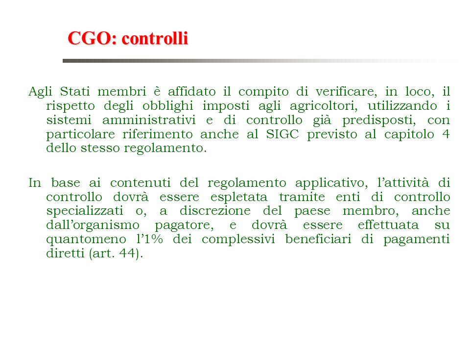 CGO: controlli Agli Stati membri è affidato il compito di verificare, in loco, il rispetto degli obblighi imposti agli agricoltori, utilizzando i sist