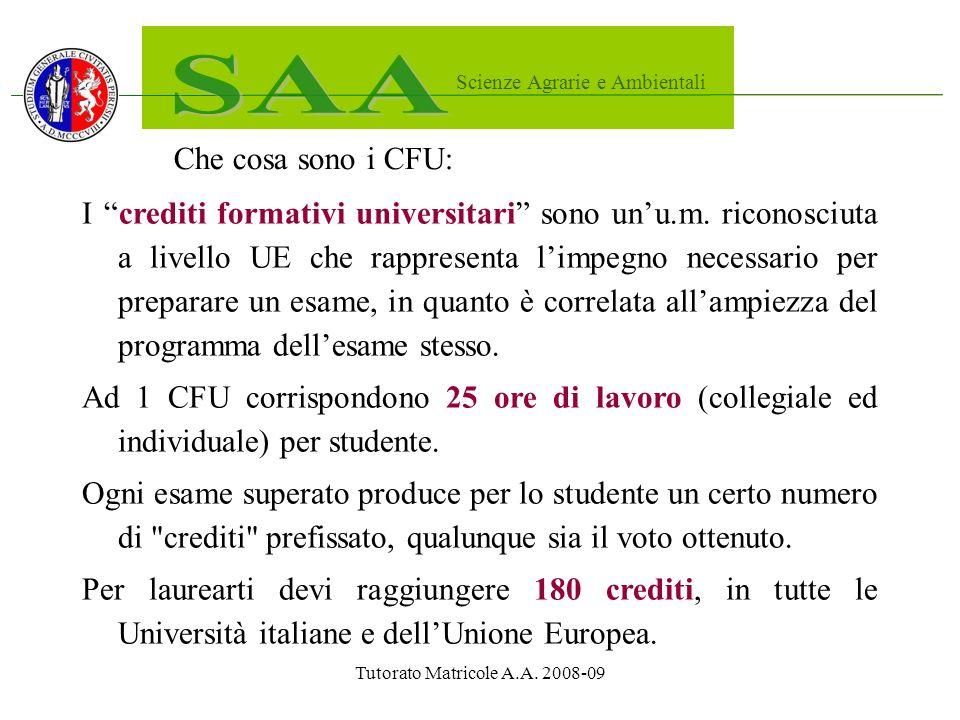 Tutorato Matricole A.A. 2008-09 Che cosa sono i CFU: I crediti formativi universitari sono unu.m.