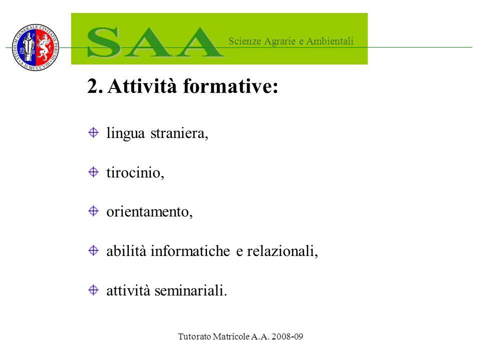 Tutorato Matricole A.A. 2008-09 2.