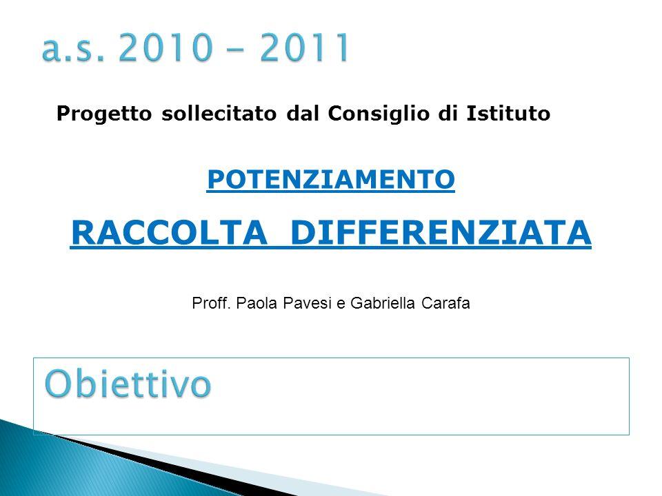 Progetto sollecitato dal Consiglio di Istituto POTENZIAMENTO RACCOLTA DIFFERENZIATA Proff.