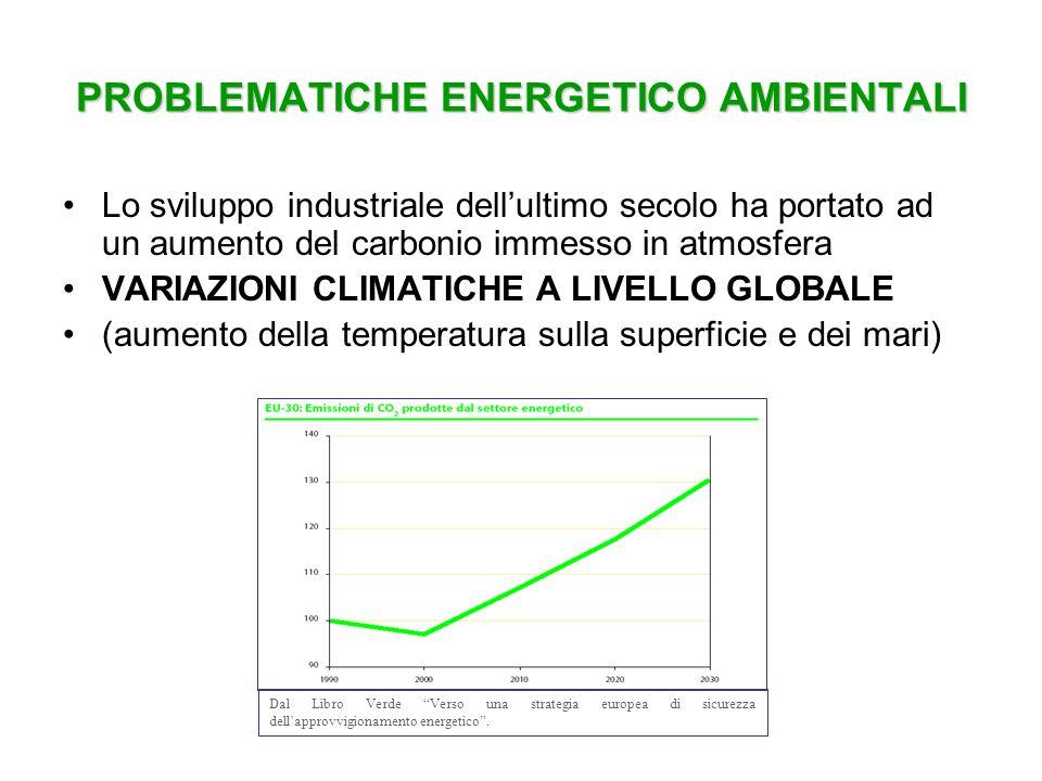 PROBLEMATICHE ENERGETICO AMBIENTALI Lo sviluppo industriale dellultimo secolo ha portato ad un aumento del carbonio immesso in atmosfera VARIAZIONI CL