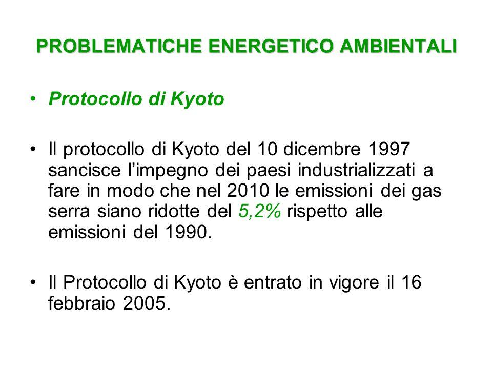 PROBLEMATICHE ENERGETICO AMBIENTALI Protocollo di Kyoto Il protocollo di Kyoto del 10 dicembre 1997 sancisce limpegno dei paesi industrializzati a far