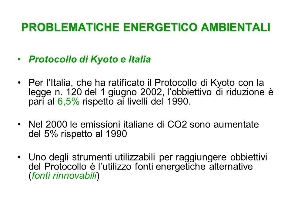 PROBLEMATICHE ENERGETICO AMBIENTALI Protocollo di Kyoto e Italia Per lItalia, che ha ratificato il Protocollo di Kyoto con la legge n. 120 del 1 giugn