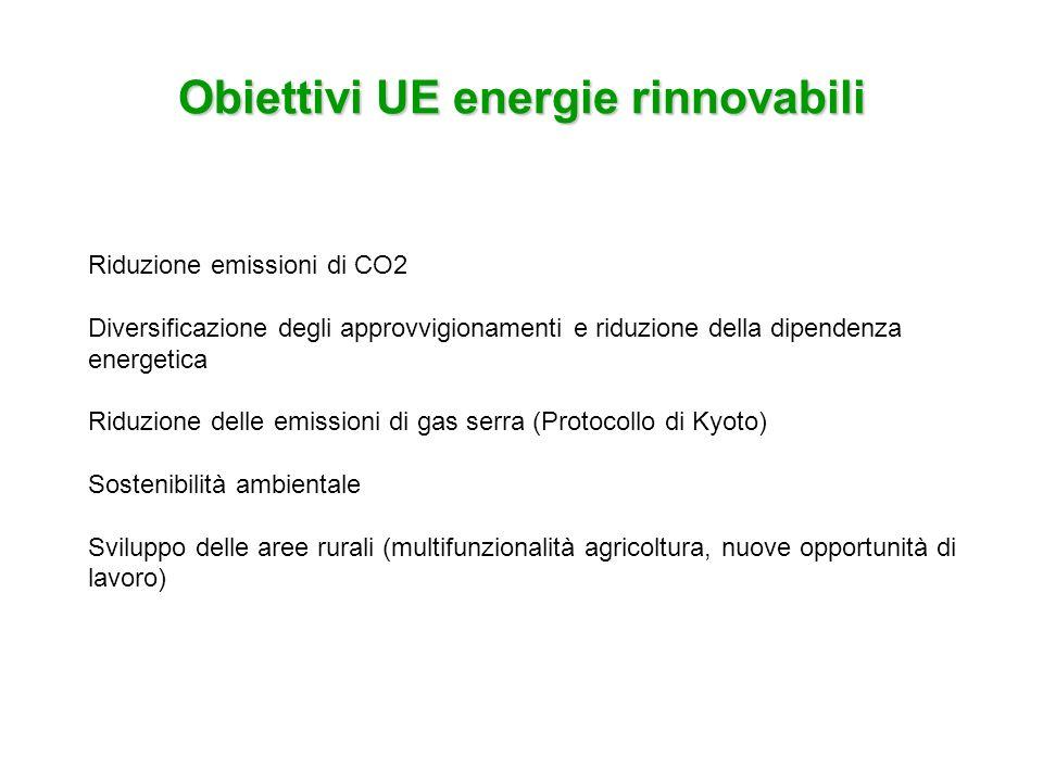Normativa comunitaria agroenergie Direttive: Direttiva 2001/77/CE: energia elettrica da fonti rinnovabili incentivare la produzione di energia da fonti rinnovabili contributo delle fonti rinnovabili pari al 12% del consumo interno lordo di energia nel 2010 Direttiva 2003/30/CE: direttiva biocarburanti biocarburanti: sostanze liqude o gassose derivanti direttamente dalla biomassa immissione sul mercato di una quota di biocarburanti del 2% nel 2005 e del 5,75% nel 2010 Direttiva 2003/96/CE: tassazione prodotti energetici gli Stati membri possono applicare esenzioni del livello di tassazione dei prodotti energetici
