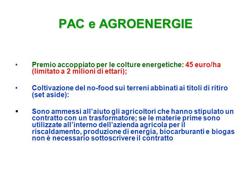 PAC e AGROENERGIE Premio accoppiato per le colture energetiche: 45 euro/ha (limitato a 2 milioni di ettari); Coltivazione del no-food sui terreni abbi