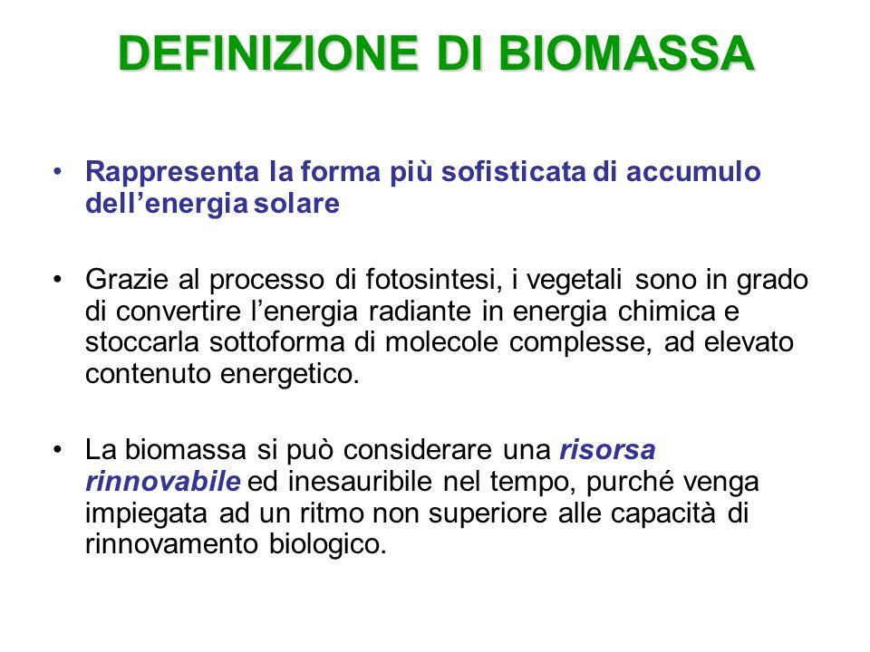 Biomassa Le biomasse possono essere costituite da: colture arboree ed erbacee destinate alla produzione di biocarburanti e biocombustibili sottoprodotti delle produzioni erbacee, arboree e delle lavorazioni agro-industriali sottoprodotti delle lavorazioni forestali e dei legnami da opera reflui zootecnici per la produzione di biogas residui dellindustria alimentare e mangimistica (pule dei cereali, canna da zucchero ecc.)