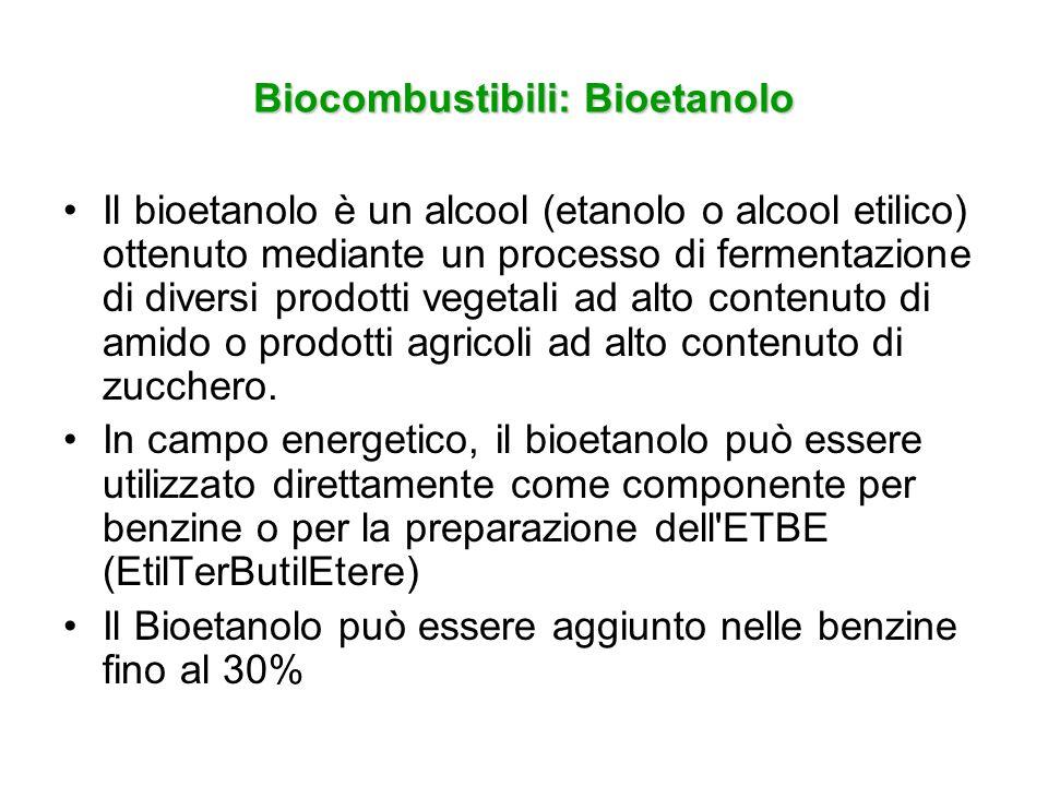 Biocombustibili: Bioetanolo Il bioetanolo è un alcool (etanolo o alcool etilico) ottenuto mediante un processo di fermentazione di diversi prodotti ve