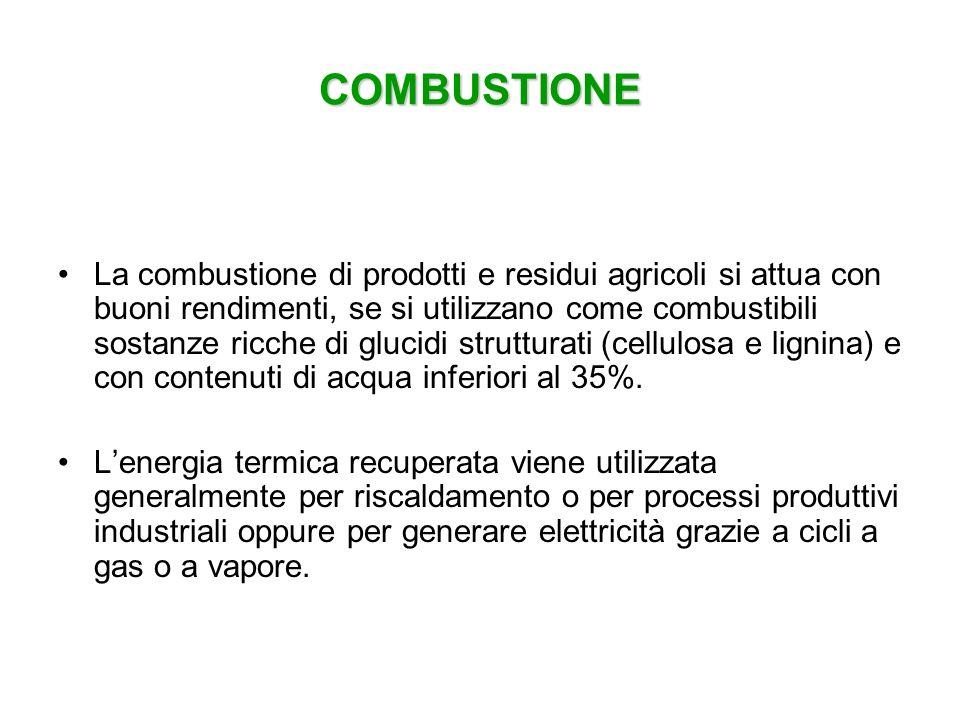 COMBUSTIONE La combustione di prodotti e residui agricoli si attua con buoni rendimenti, se si utilizzano come combustibili sostanze ricche di glucidi