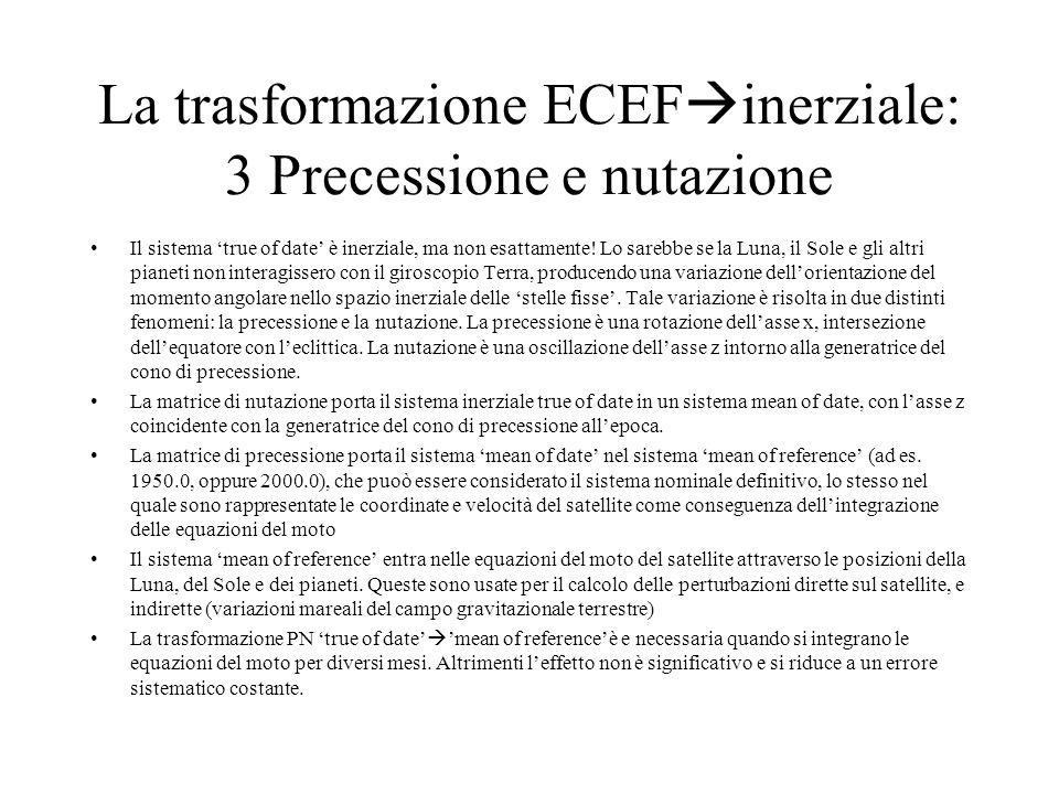 La trasformazione ECEF inerziale: 3 Precessione e nutazione Il sistema true of date è inerziale, ma non esattamente! Lo sarebbe se la Luna, il Sole e