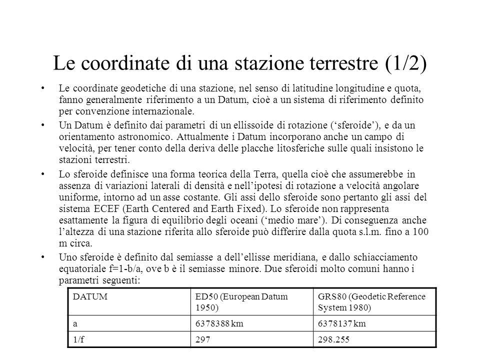 Le coordinate di una stazione terrestre (2/2) Trasformazione da coordinate geodetiche nominali (,h) a coordinate cartesiane, per dati (a,1/f) e velocità di deriva in latitudine e longitudine.