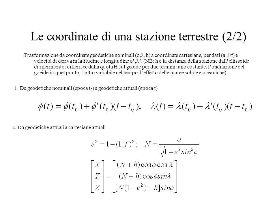 Le coordinate di una stazione terrestre (2/2) Trasformazione da coordinate geodetiche nominali (,h) a coordinate cartesiane, per dati (a,1/f) e veloci