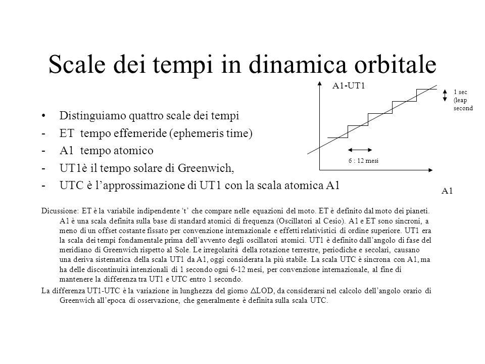 Scale dei tempi in dinamica orbitale Distinguiamo quattro scale dei tempi -ET tempo effemeride (ephemeris time) -A1 tempo atomico -UT1è il tempo solar