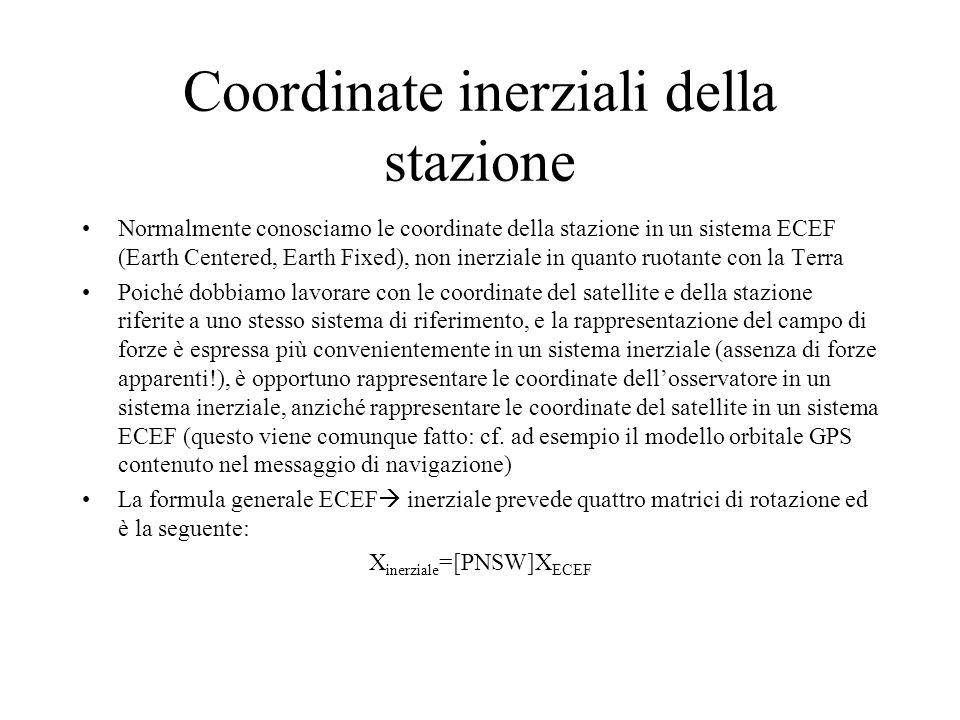 Coordinate inerziali della stazione Normalmente conosciamo le coordinate della stazione in un sistema ECEF (Earth Centered, Earth Fixed), non inerzial