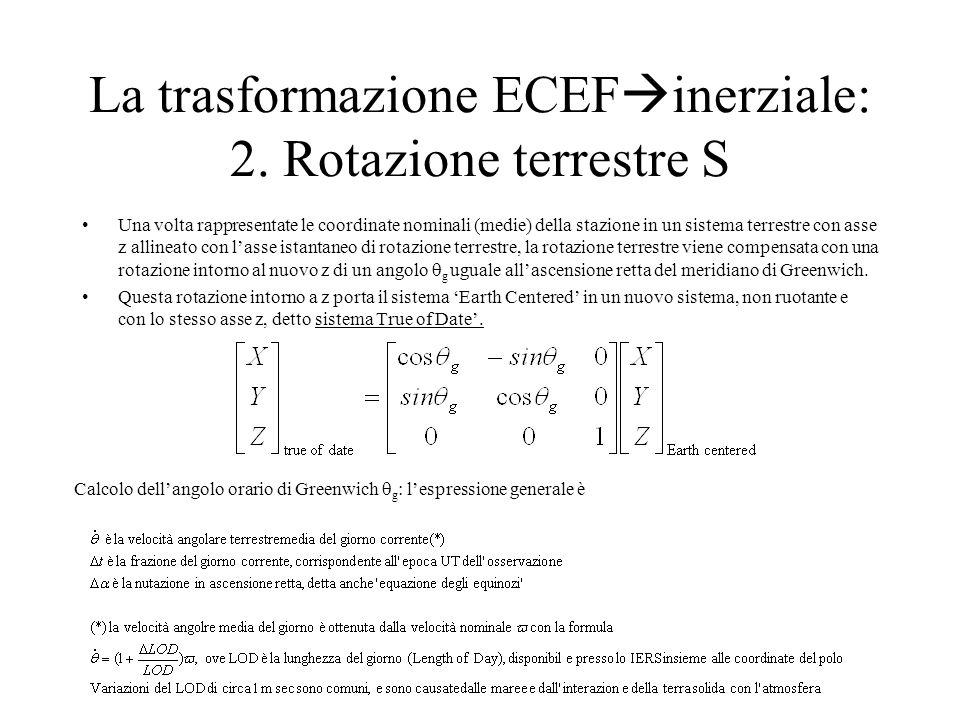 La trasformazione ECEF inerziale: 2. Rotazione terrestre S Una volta rappresentate le coordinate nominali (medie) della stazione in un sistema terrest