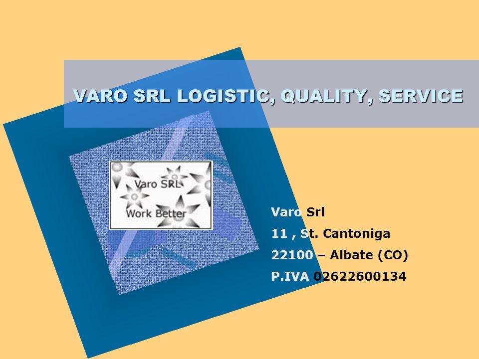 VARO SRL LOGISTIC, QUALITY, SERVICE Per aggiungere alla diapositiva il logo della società: Scegliere Immagine dal menu Inserisci Individuare il file c