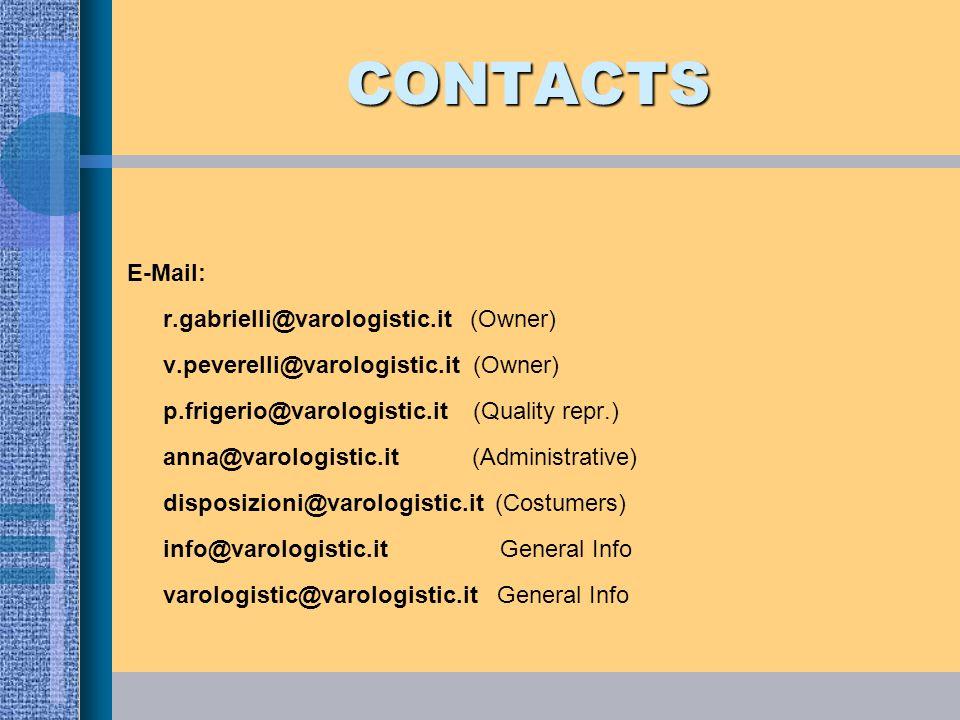 CONTACTS E-Mail: r.gabrielli@varologistic.it (Owner) v.peverelli@varologistic.it (Owner) p.frigerio@varologistic.it (Quality repr.) anna@varologistic.
