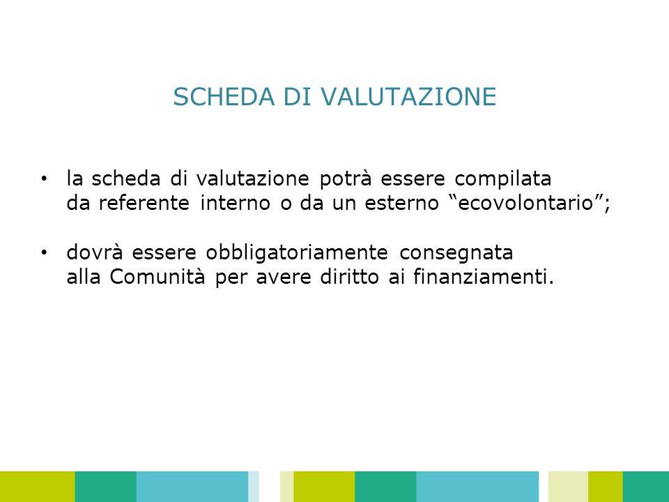 SCHEDA DI VALUTAZIONE la scheda di valutazione potrà essere compilata da referente interno o da un esterno ecovolontario; dovrà essere obbligatoriamente consegnata alla Comunità per avere diritto ai finanziamenti.