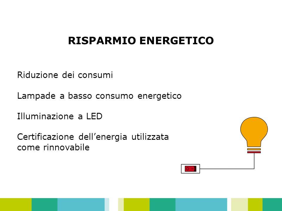 RISPARMIO ENERGETICO Riduzione dei consumi Lampade a basso consumo energetico Illuminazione a LED Certificazione dellenergia utilizzata come rinnovabile