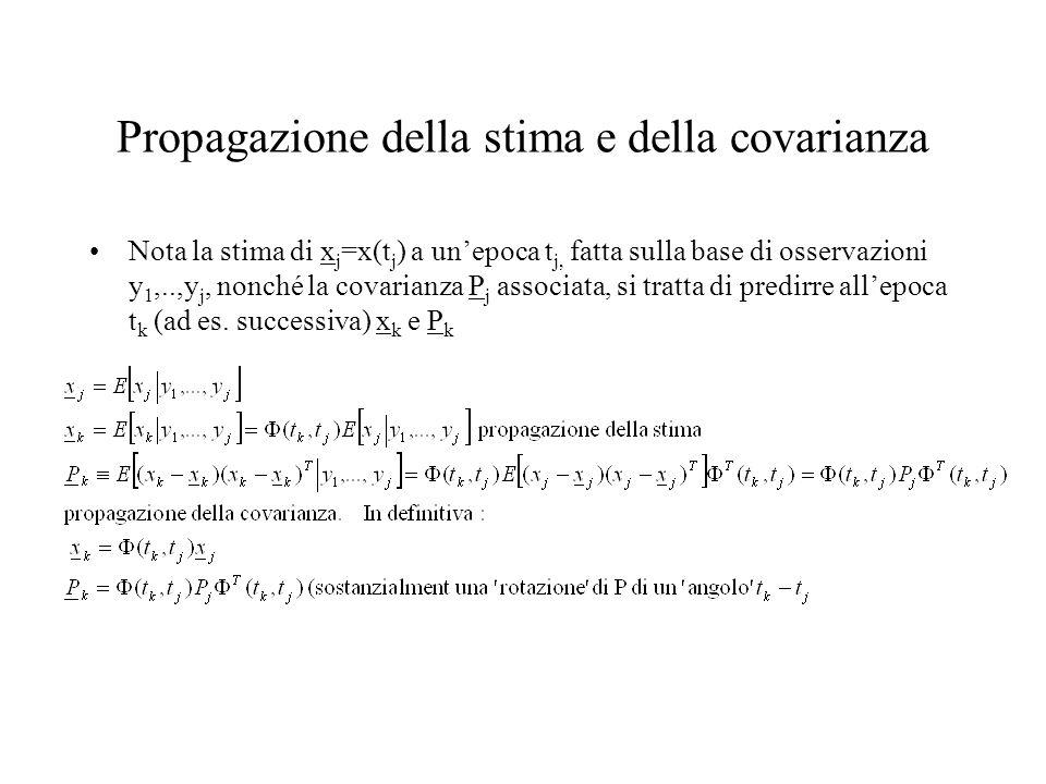 Propagazione della stima e della covarianza Nota la stima di x j =x(t j ) a unepoca t j, fatta sulla base di osservazioni y 1,..,y j, nonché la covari