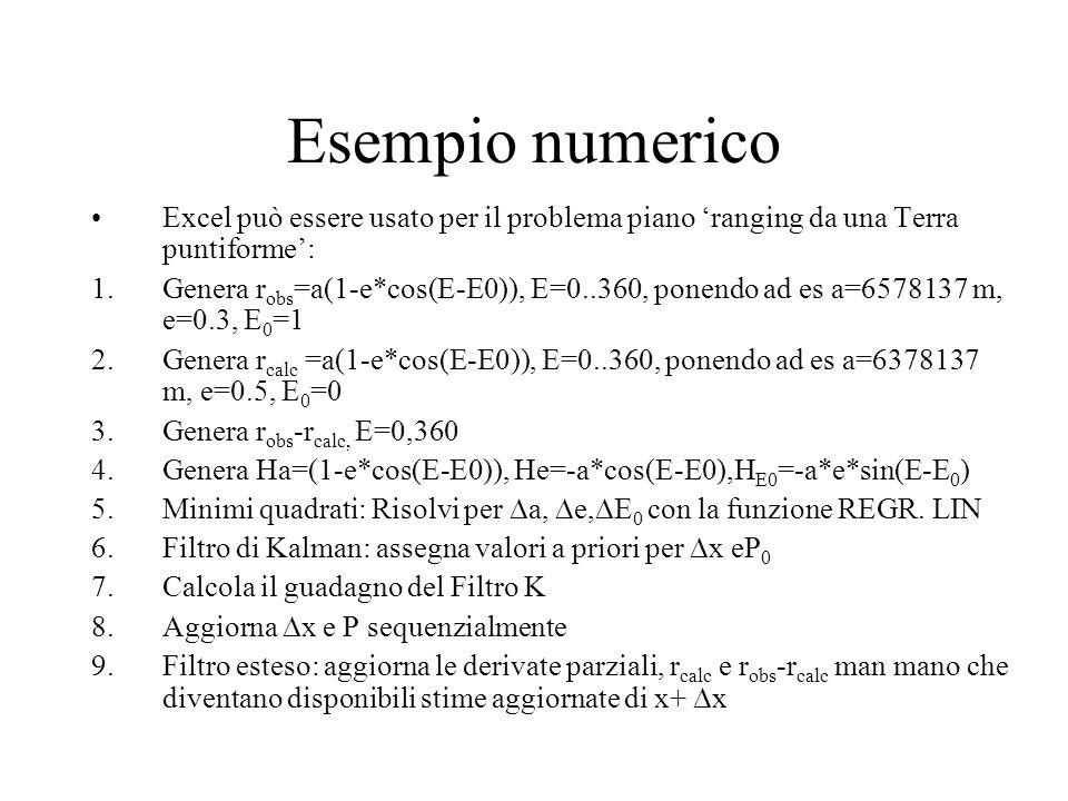 Esempio numerico Excel può essere usato per il problema piano ranging da una Terra puntiforme: 1.Genera r obs =a(1-e*cos(E-E0)), E=0..360, ponendo ad
