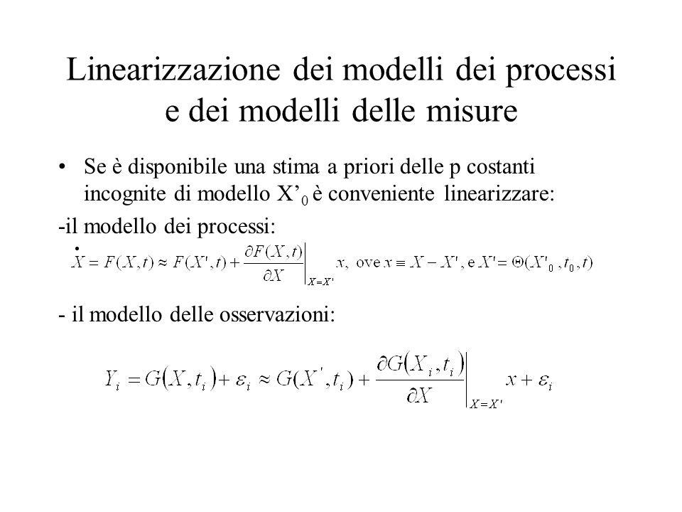 Linearizzazione dei modelli dei processi e dei modelli delle misure Se è disponibile una stima a priori delle p costanti incognite di modello X 0 è co