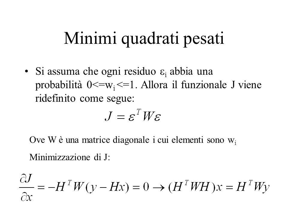 Minimi quadrati pesati Si assuma che ogni residuo i abbia una probabilità 0<=w i <=1. Allora il funzionale J viene ridefinito come segue: Ove W è una
