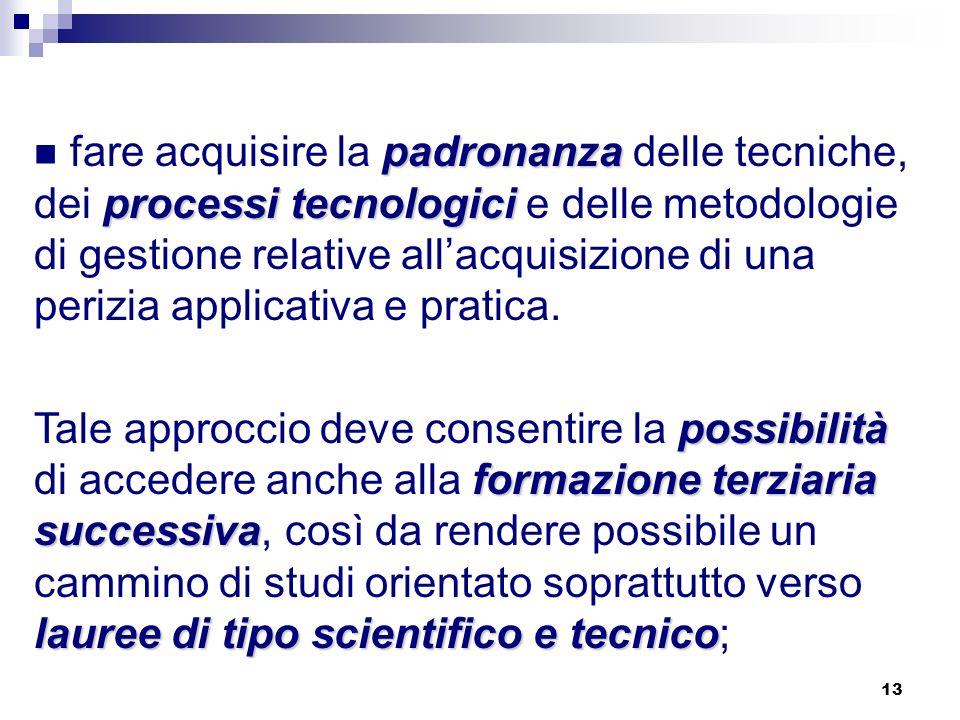 13 padronanza processi tecnologici fare acquisire la padronanza delle tecniche, dei processi tecnologici e delle metodologie di gestione relative allacquisizione di una perizia applicativa e pratica.