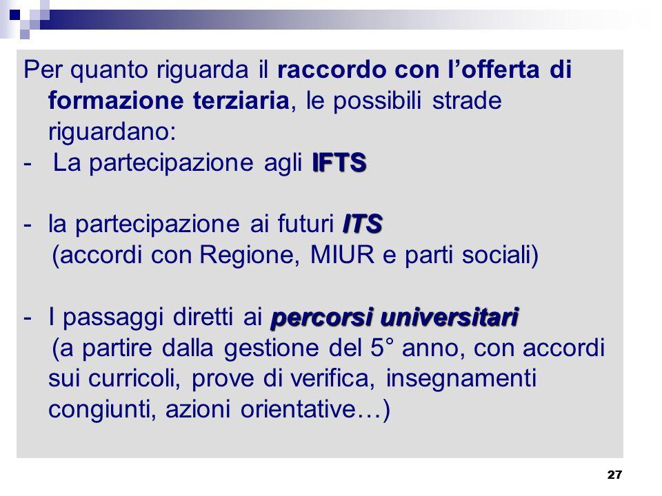 27 Per quanto riguarda il raccordo con lofferta di formazione terziaria, le possibili strade riguardano: IFTS - La partecipazione agli IFTS ITS -la pa
