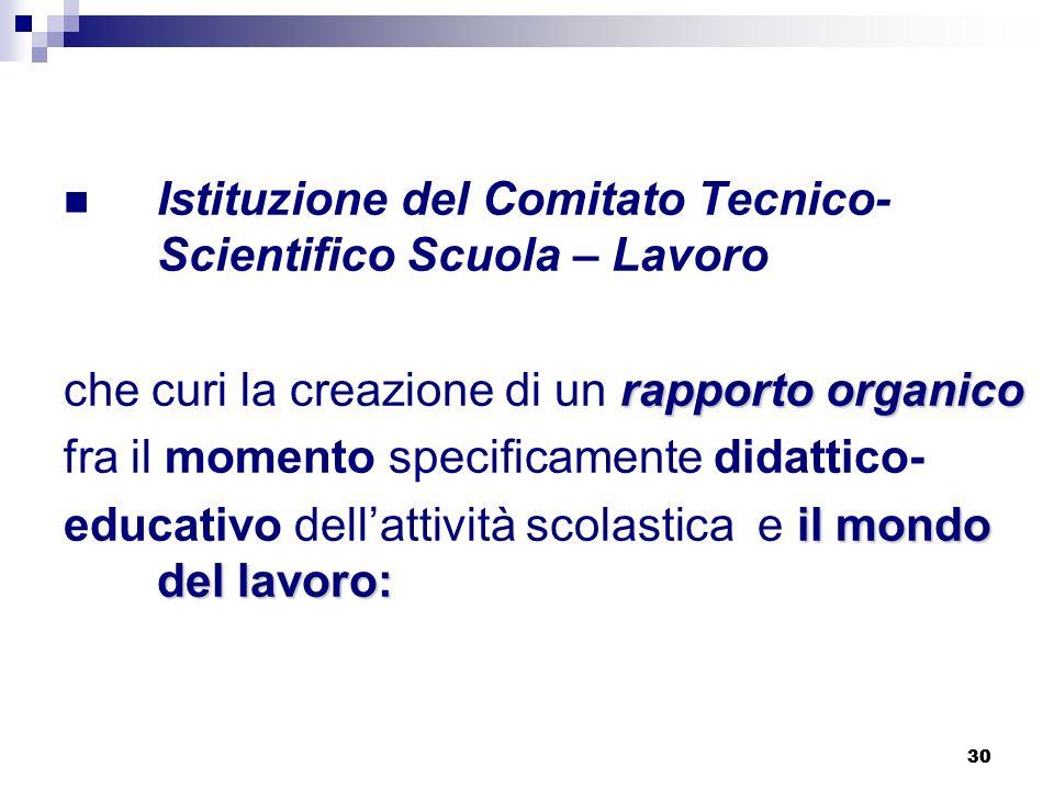 30 Istituzione del Comitato Tecnico- Scientifico Scuola – Lavoro rapporto organico che curi la creazione di un rapporto organico fra il momento specif