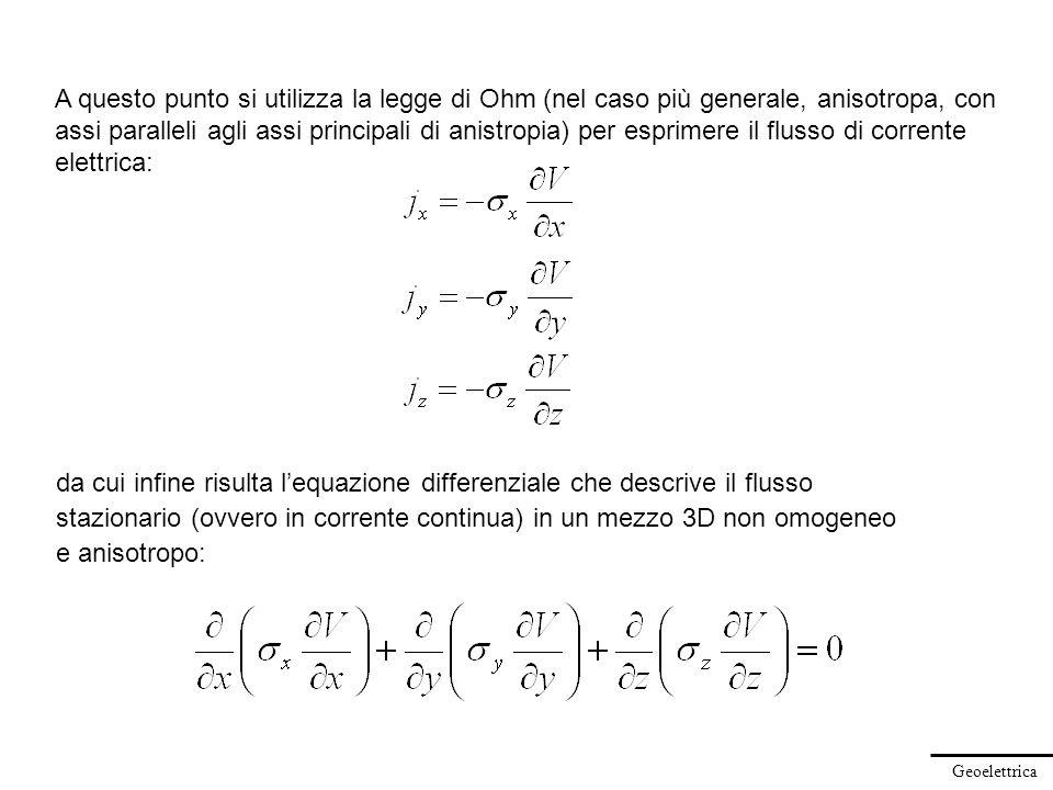 Geoelettrica A questo punto si utilizza la legge di Ohm (nel caso più generale, anisotropa, con assi paralleli agli assi principali di anistropia) per